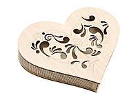 Шкатулка-сердечко Узор с прорезной крышечкой большая, фото 1