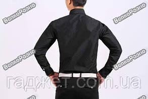 Черная мужская рубашка с отделкой в полосочку. Размер XL., фото 2