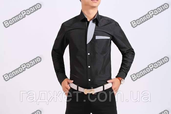 Черная мужская рубашка с отделкой в полосочку. Размер XL.
