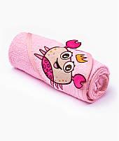 Полотенце с капюшоном Sensillo с 3D вышивкой 76х76 - pink
