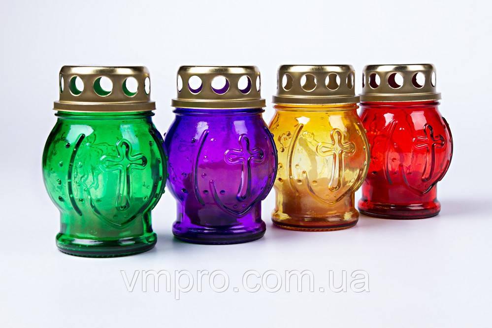 Лампадки Пасхальные с крестом 95/65 мм, стеклянный корпус со свечой