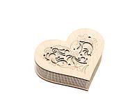 Шкатулка-сердечко Узор с закрытой крышечкой маленькая, фото 1