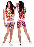 """Стильный женский молодёжный костюм с шортами """"Цветочки"""" в расцветках"""