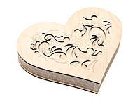 Шкатулка-сердечко Узор с закрытой крышечкой большая, фото 1