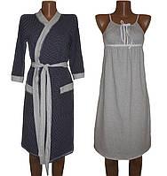 Комплект пеньюар ночная рубашка и легкий халат из хлопка Аля Найт, р.р. 42-56
