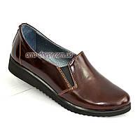 Туфли женские из натуральной лаковой кожи коричневого цвета
