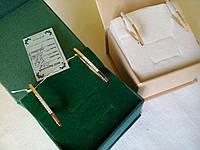 Серьги из серебра 925 пробы с золотыми вставками 375 пробы с цирконами