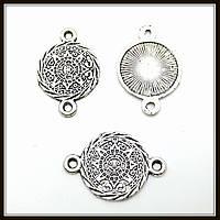 """Коннектор """"Календарь Майя"""" серебро (1,6х2,4 см) 15 шт в уп."""