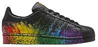 Мужские кроссовки Adidas Originals Superstar Pride Black (Адидас Суперстар) черные
