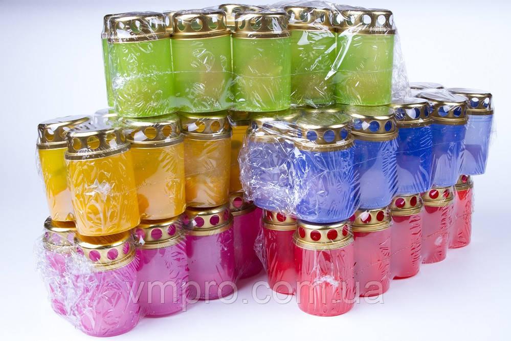 Лампадки Пасхальные разных цветов 80/50 мм, пластиковый корпус со свечой