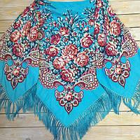 Большой женский платок в стиле прованс (135х135см, голубой, 80%-шерсть)