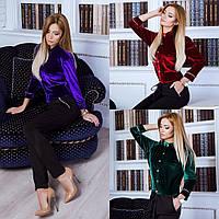 Роскошный женский комбинезон (бархат, трикотаж, длинные рукава, пояс на кулиске, узкие брюки) РАЗНЫЕ ЦВЕТА!