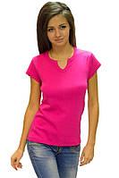 Розовая яркая футболка женская спортивная на лето с коротким рукавом однотонная хб трикотажная (Украина)