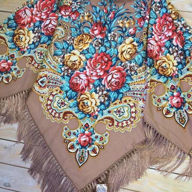 b6b272532954 Кофейный женский платок в стиле прованс (135х135см, кофейний, 80%-шерсть)