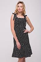Льняное женское черное платье в горох  FOX ТМ Tatiana 44-48 размеры