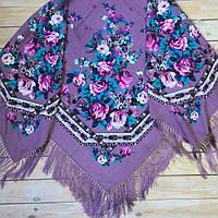 Ультрамодный платок для девушек лилового цвета (135х135см, лиловый, 80%-шерсть)