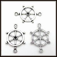 """Коннектор """"Штурвал"""" серебро (1,8х2,7 см) 6 шт в уп."""