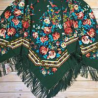 Стильный  платок для девушек зелёного цвета(135х135см, зелёный, 80%-шерсть)