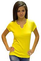 Желтая  яркая футболка женская спортивная на лето с коротким рукавом с вырезом хб трикотажная (Украина)
