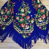 Модный платок для девушек большого размера цвета электрик (135х135см, синий, 80%-шерсть)