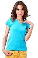 Женская голубая футболка летняя с коротким рукавом для спорта и дома однотонная хб трикотажная (Украина)
