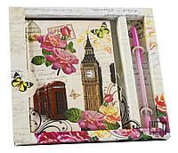 """Блокнот на замочке 50 листов+ручка """"Лондон,Париж"""""""