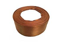 Лента атласная 4см,коричнево-рыж 25 ярдов в рулоне