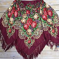 Молодежный платок для девушек цвета марсала (130х140см, бордовый, 80%-шерсть)