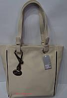 Кремовая женская сумка - планшет на две ручки