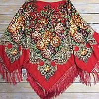 Роскошный платок для девушек красного цвета (130х140см, красный, 80%-шерсть)