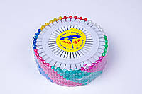 Булавки канцелярские разноцветные (480 шт),булавка портновская шарик №40-12