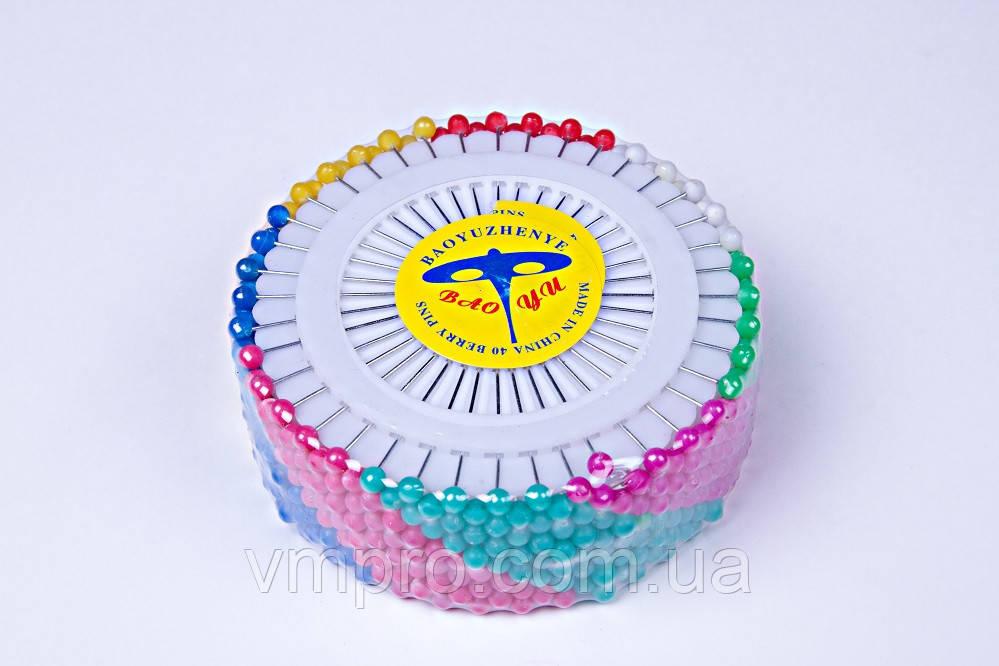 Булавки канцелярские разноцветные (480 шт),булавка портновская шарик №40-12, фото 1