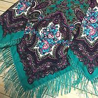 Модный платок для девушки изумрудного цвета (110х110см, 80%-шерсть)