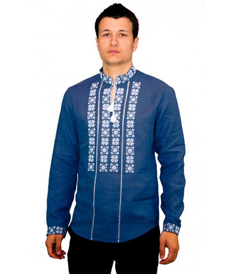 Темно-синя вишита сорочка. Чоловіча вишиванка. Святкова чоловіча вишиванка.  Интернет магазин вишиванок. b2bb0b87f1658