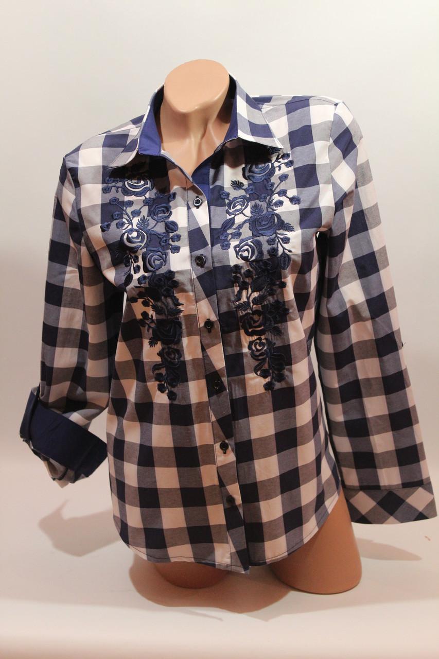 Женские рубашки в клетку вышивка оптом VSA белый-синий