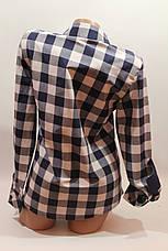 Женские рубашки в клетку вышивка оптом VSA белый-синий, фото 3