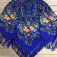 Стильна хустина з квітами синього кольору (135х135см, синій, 80%-шерсть), фото 1