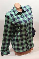 Женские рубашки в клетку с надписями на спине оптом VSA зеленый+синий, фото 2
