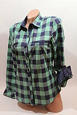 Женские рубашки в клетку с надписями на спине оптом VSA зеленый+синий, фото 3
