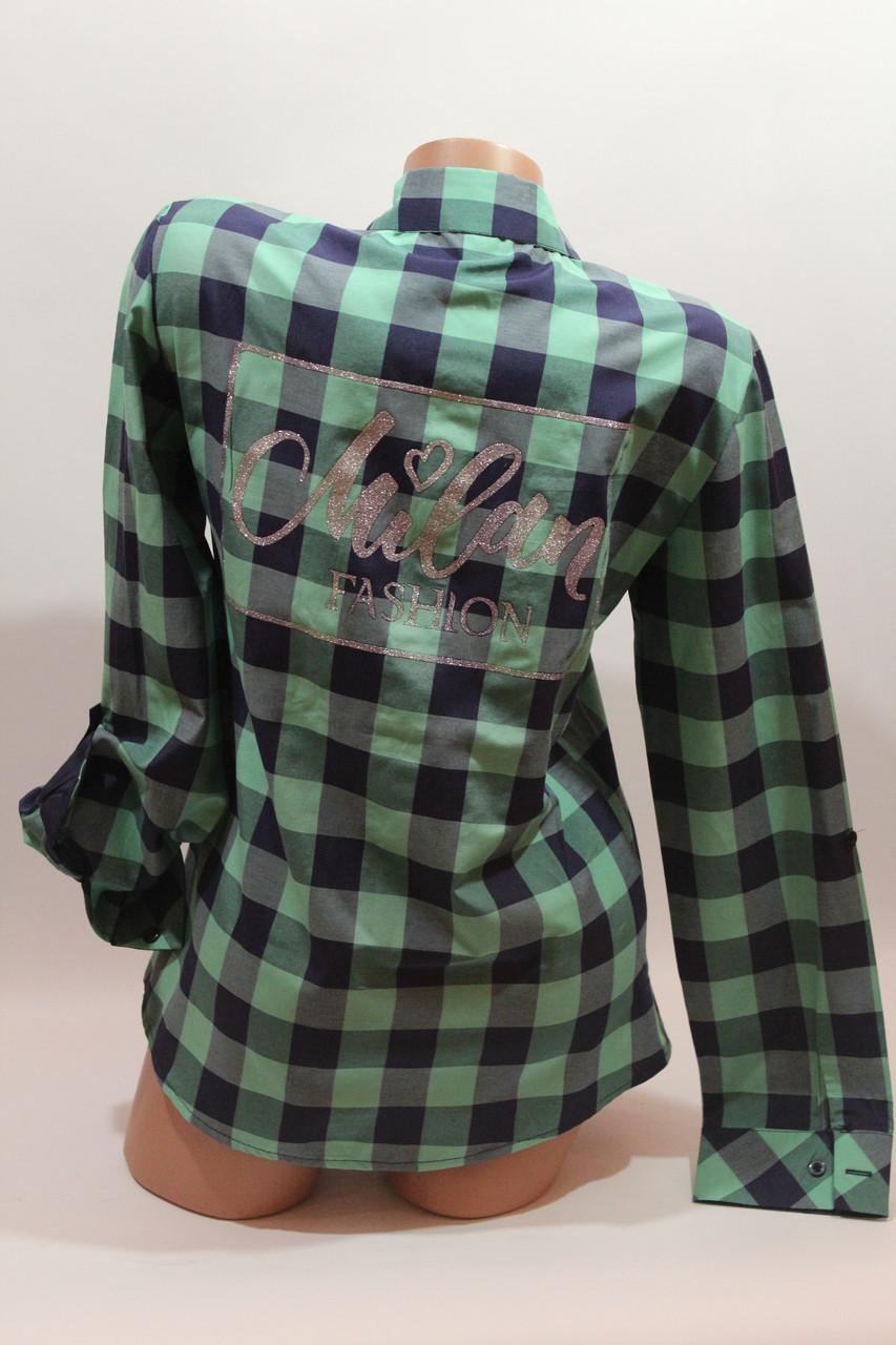 Женские рубашки в клетку с надписями на спине оптом VSA зеленый+синий