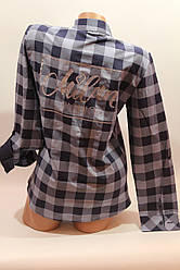 Женские рубашки в клетку с надписями на спине оптом VSA джинс+синий