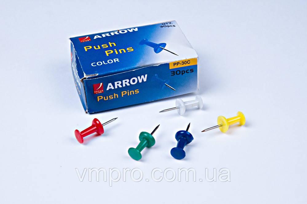 Кнопки гвоздик, пластиковые, разноцветные, 30 шт, кнопки для офиса,школы,дома.