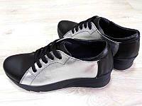 Туфли женские натуральная кожа спортивные черные, серебро Ko0004