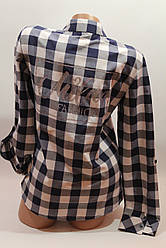 Женские рубашки в клетку с надписями на спине оптом VSA белый+синий