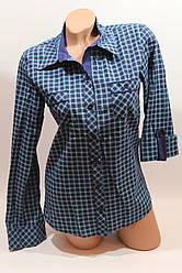 Женские рубашки в клетку с карманами оптом VSA голубой+синий мелкая
