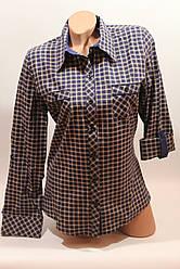 Женские рубашки в клетку с карманами оптом VSA св.коричневый+синий мелкая