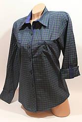 Женские рубашки в клетку с карманами оптом VSA т.зеленый+синий мелкая