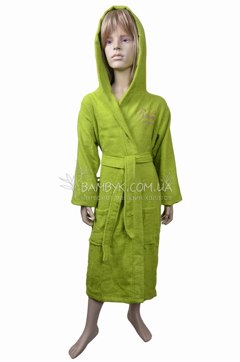 Подростковый халат с капюшоном Nusa №Princess-зеленый