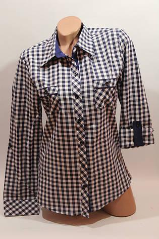 Женские рубашки в клетку с карманами оптом VSA белый+синий мелкая, фото 2