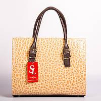 Красивая бежевая каркасная женская сумка art. 1343km